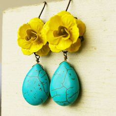 Turquoise and Yellow Rose Earrings FRIDA Collection by luxedeluxe, $35.00