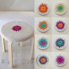 Crochet stool cover by lacasadecoto on Etsy Granny Square Crochet Pattern, Crochet Shawl, Crochet Yarn, Crochet Patterns, Love Crochet, Learn To Crochet, Cotton Cord, Stool Covers, Crochet Home Decor