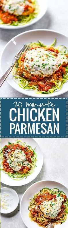 20 Minute Healthy Chicken Parmesan recipe - easy prep, simple ingredients, SO GOOD. 350 calories. ♡ pinchofyum.com