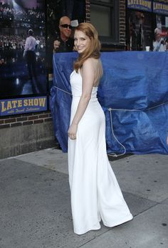 Jessica Chastain arrives for the 'Late Show with David Letterman' at Ed Sullivan Theater on October 16, 2014 in New York City.