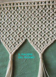 Kenar Macrame Bag, Macrame Knots, Micro Macrame, Crochet Scarf Diagram, Knit Crochet, Curtain Patterns, Macrame Projects, Macrame Patterns, Lace Making