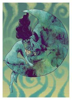 Skull and Moon profile capture. Art Work