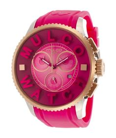 Features. Stainless steel case.. Silicone strap.. Pink dial.. Swiss quartz movement.. #Chronograph.. Date.. Water resistant 100 meters.. Case 52 mm.. Gender - Un...