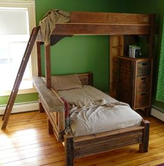 Wooden twin bunkbeds. $5,000.00, via Etsy.    Bunk beds are cool!