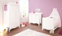 Pinolino Kinderzimmer Fleur breit, 3-teilig, Kinderbett (140 x 70 cm), breite Wickelkommode mit Wickelaufsatz und Kleiderschrank, wei� Edelmatt (Art.-Nr. 10 34 72 B)