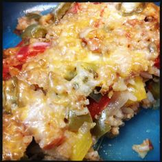 unstuffed bell peppers - my fave Pinterest recipe so far!! Easy & tasty!  I use ground turkey meat though.