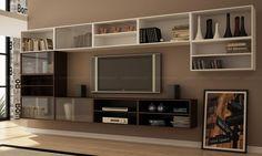 Conjunto sala de estar com nichos Tabaco/Branco - BRV Móveis