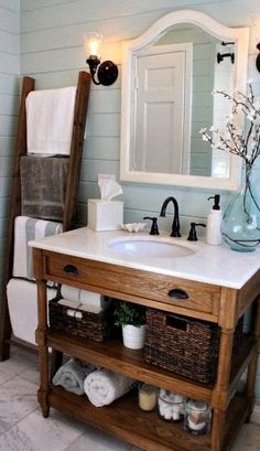 "Hit ""Visit"" to find where to get the decor and fixtures in this coastal bathroom. www.recreatearoom.com"
