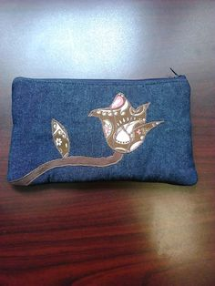 Zipper Pouch Embroidered Flower // Pencil Pouch // by Ecilo, $12.00