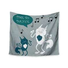 Kess InHouse Anya Volk 'Time To Dance' Green and White Wall Tapestry