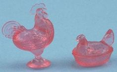 Dollhouse Miniature Rooster and Hen Figurines, Pink #CHR152P