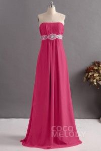 [ USD$ 139 ] Charming Sheath-Column Strapless Floor Length Chiffon Bridesmaid Dress with Beading COZF14014