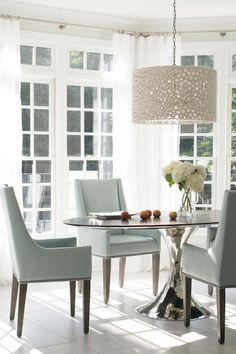 Heather Garrett Design - dining rooms - Meri Drum Chandelier, sunroom, sunroom dining room, sunroom breakfast room, breakfast room, silver b...