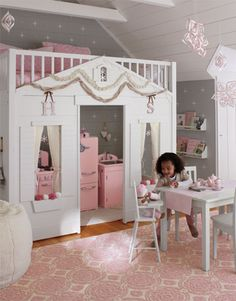 @Vicki Smallwood Snyder Barn Kids Girls Bedroom I like the bookshelves (too high though) & idea of having table & chairs to play at
