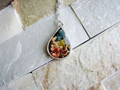 Rainbow Pendant Necklace,  Teardrop Necklace, Boho Necklace, Silver Necklace, Minimalist Necklace, Gold Flake Necklace, Resin Jewelry by KateeMarie on Etsy