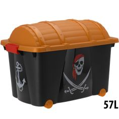 Pirate Childrens Plastic Storage Container Toy Chest Box With Wheels Childrens Storage Boxes, Toy Storage Units, Kid Toy Storage, Children Storage, Storage Chest, Children Toys, Boys Bedroom Storage, Nursery Storage, Plastic Container Storage