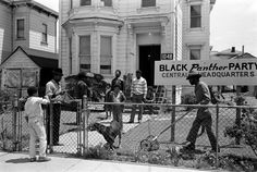 Mojo mows the lawn as Black Panthers (and Mojo's dog) stand in the yard of the Black Panther National Headquarters, 1048 Peralta Street West Oakland, 1971. The Black Panther Party was one of the most influential responses to racism and inequality in American history. The Panthers advocated armed self-defense to counter police brutality, and initiated a program of patrolling police with guns and law books. Photo credit: Stephen Shames