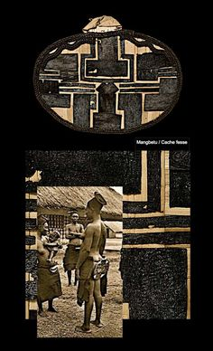 Cache fesse. Mangbetu Cache fesse Nekbwe de l'ethnie Mangbetu, Zaire, république démocratique du Congo. Superbe exemplaire dont l'agencement des motifs, le contraste entre la profondeur du noir et la douceur naturel des feuilles composants le support...