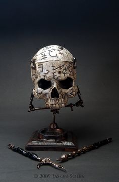From artist Jason Soles comes this delightfully creepy Necromancer's skull sculpture.