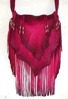 "Designer Leather Purse Fringe Handbag Artisan Hippie Retro Hot Pink Leather Bag ""CHERRY BOMB"""