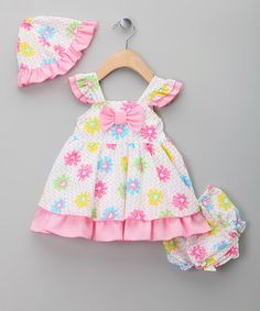 Take a look at this Pink & Yellow Ruffle Tiered Dress Set by Sweet Elegance on #zulily today!