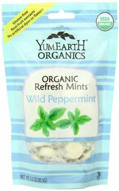 YumEarth YummyEarth - Organic Refresh Mints, Wild Peppermint Pk of 3 Gluten Free, 100% Vegan, 100% Natural Flavors 100% Daily Vitamin C; Real Fruit Extract Soy-Free; Dairy-Free; Fat-Free; Peanut-Free; Tree Nut-Free; No Artificial Dyes; No Artificial Colors  http://www.vitacost.com/yummy-earth-organic-candy-drops-wild-peppermint-3-3-oz-2