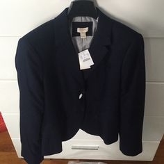 Navy blue JCREW blazer sz 12 NEW WITH TAGS J Crew navy blue blazer with gold button accents. Never worn still in original package. Perfect for work and play! Will take best offer  J. Crew Jackets & Coats Blazers