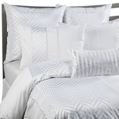 Buy Kas White Herringbone King Duvet Cover Set, Patterned Bedding from Bed Bath & Beyond