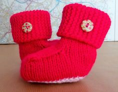 Hand Knitted Baby Bootees 3-6 months Ugg by HandKnittedYorkshire