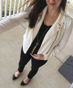 black on black look, maternity style, bump style, cream blazer