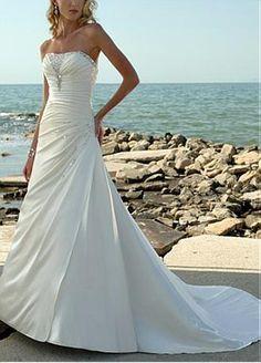 Buy discount Elegant Soft Satin Strapless A-line Wedding Dress For Your Beach Wedding at Dressilyme.com