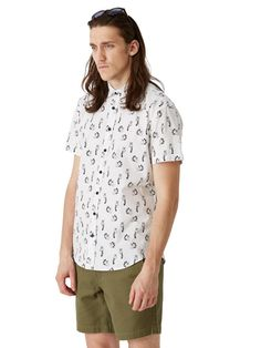 Lemur Printed Poplin Short-Sleeve Shirt in White | Frank + Oak