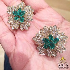 Exceptional vintage Van Cleef & Arpels earrings set with emeralds and…