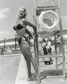 Jayne Mansfield Poses Near Pool Vintage 8x10 Reprint Of Old Photo