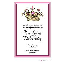 Princess Invitation with Crown (tiara) and pink jewels for a child's princess birthday party or baby shower from Little Angel Announcements