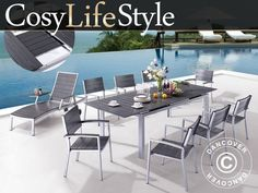 CosyLifeStyle all-weather garden furniture set made of non-wood and powder coated aluminium incl. 6 chairs and an extension table. Super durable and maintenance free garden furniture set in a timeless design. All Weather Garden Furniture, Garden Furniture Sets, Outdoor Furniture Sets, Outdoor Decor, Extension Table, Timeless Design, Cosy, Patio, Chair