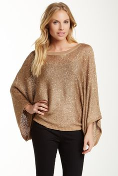 Dolce Cabo, Sequin Dolman Sleeve Sweater