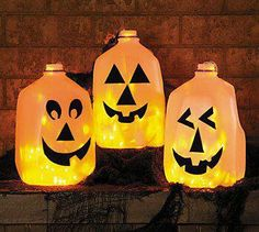 Save those milk jugs...Halloween is right around the corner!!!  What you'll need  Clean plastic gallon milk jugs  Black permanent marker  Craft knife  String of 50 clear low-wattage holiday lights (or use any color you like)  Draw silly eyes, nose and mouths (be creative) on the jugs. Tip: Leave the caps on while you do this, so the jugs don't dent.  Use the craft knife to cut a half-dollar-size hole in the back of each jug (a parent's job).  Arrange the ghosts near each other and string the…