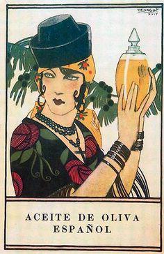 Aceite de oliva español | Vintage food & drink poster | Retro advert #Vintage #Posters #Affiches #Food #Drinks #Carteles #deFharo #Ads