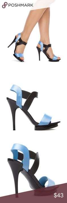 "Sky blue black strappy heels colorblock platform REASONABLE OFFERS THROUGH OFFER FEATURE. NO TRADES. These graphic Madison by Shoedazzle strappy sandals feature an ankle strap design w/ an open toe for maximum impact. Approx heel height: 5"" w/ 0.5"" platform. Size: 5.5. Condition: new, never worn Madison by Shoedazzle Shoes Heels"