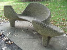 Mid-Century concrete outdoor bench seat