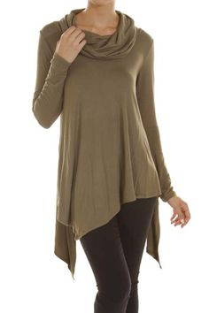 SOLID UNBALANCE COWL NECK TOP