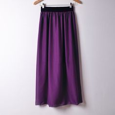 New Summer Chiffon Skirt Casual Style Solid Skirts Black Sashes Empire Mid-Calf Skirts 20 Colors Size
