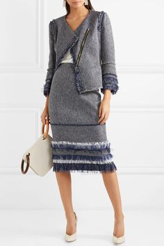 Black, midnight-blue and white cotton-blend bouclé-tweed Concealed zip fastening through front 68% cotton, 20% acrylic, 12% polyamide Dry clean Made in the UK
