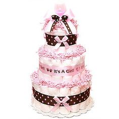 Pink and brown diaper cake 2