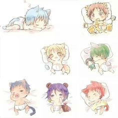 Kuroko no Basuke ~ Generation of Miracles as chibi animals Kuroko No Basket, Anime Boys, Anime Child, Kagami Kuroko, Kagami Taiga, Got Anime, Anime Art, Anime Kawaii, Midorima Shintarou