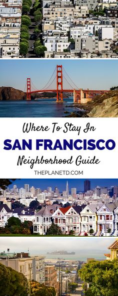 Where to stay when visiting San Francisco, California - the home of the Golden Gate Bridge. This San Fran guide highlights all of the top neighborhoods in the city along with the best hotels and accommodation in each area. Location is key in the bay area and where you stay will depend on what you want to do. For instance, stay in Fisherman's Wharf for the typical SF experience or stay in Haight-Ashbury for a funkier and quirkier side to the city. | Blog by the Planet D#California…