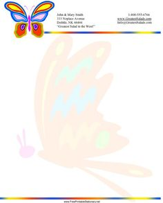 Colorful butterflies appear at the top and on the background of this printable stationery. Free to download and print