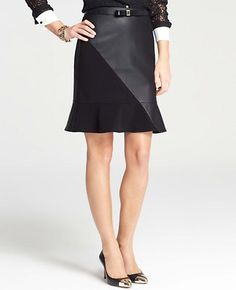 Faux Leather Ponte Flounce Skirt #AnnTaylor   #EastwoodPinPals