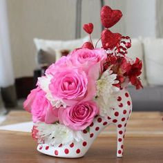 Flowers not included. Any florist can do a floral design for your wonderful event. Red high heel ...